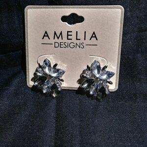 Jewelry - Smokey Crystal Earrings by Amelia